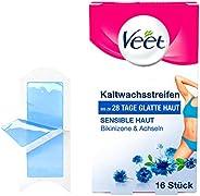 Veet Easy-Gelwax Kallvaxremsor för Bikinizon och Känslig Hud, 16 st, Blå