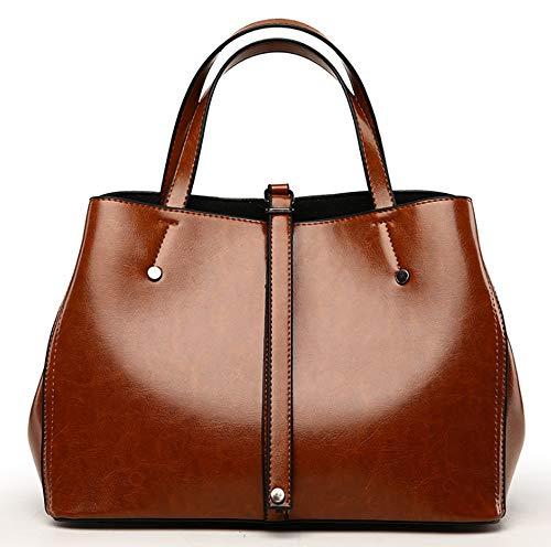 Retro Oilskin Damen Handtasche Damen 2019 New Minimalist Messenger Bag Praktische Umhängetasche Boston Bag,Burgundy -
