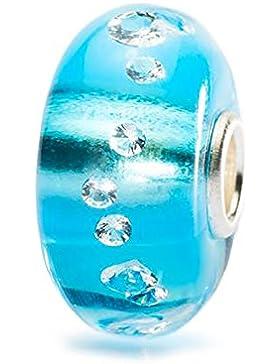 Trollbeads Damen-Bead Muranoglas Diamanten Eisblau 925 Sterling Silber TGLBE-00040
