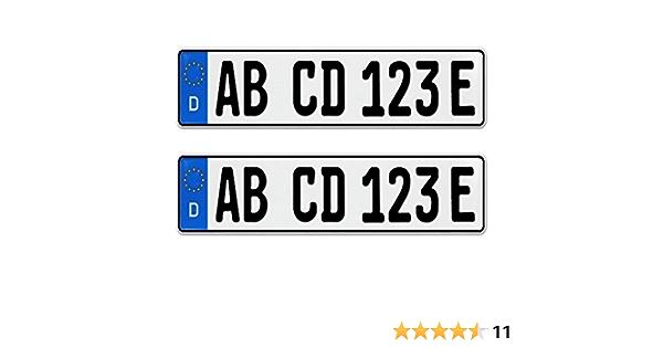 2 Stück Eu Kfz Nummernschilder E Kennzeichen Für Elektroauto Plug In Hybride Mit Individueller Prägung Nach Ihren Vorgaben Kfz Schein Schutzhülle Auto