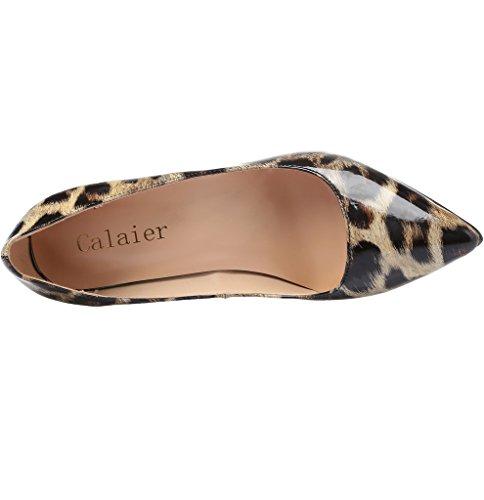 Calaier Femme Caelse Pointures Européennes 34-46 Aiguille 12CM Glisser Sur Escarpins Chaussures Verni Léopard