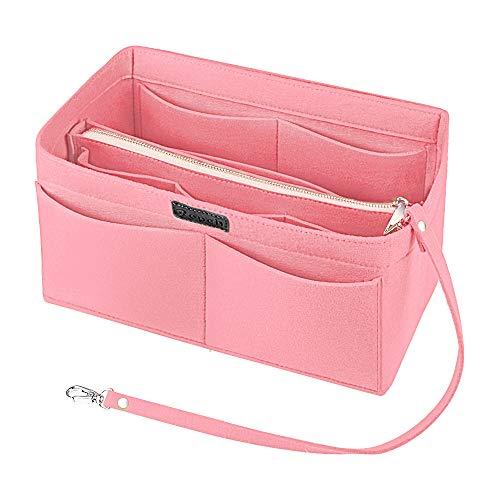 Ropch Filz Taschenorganizer für Frauen Handtaschen, mit Reißverschluss-Tasche und Schlüsselkette Handtaschen Organizer Handtaschenordner Taschen Organisator, Rosa - L -