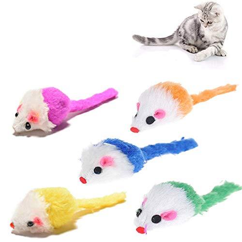 ICYANG 5 Teile/Satz Bunte Fellmaus Kaninchenfell Plüschmaus Haustier Katzenspielzeug Mini Katze Fänger Interaktive Kätzchen Spielzeug mit Sound Rasseln, Gelegentliche Farbe -