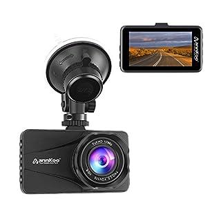 ANNKOO Dashcam AD01 Armaturenbrett Kamera 1080P 1296P Auto Kamera Full HD mit Nachtsicht (3,0 Zoll) Bildschirm 170°Weitwinkel, Fahrzeug Dash Kamera mit G-Sensor, Loop-Aufnahme, Schwarz