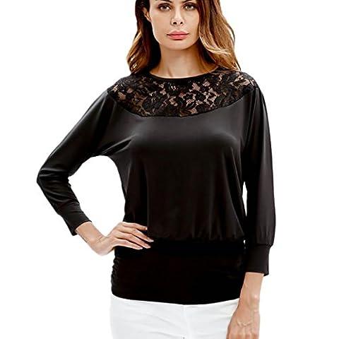 Bluestercool Hauts Femmes Manche Longue T-Shirt en Dentelle Grande Taille (M, Noir)