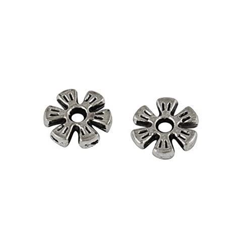 Packet of 50+ Antique Silver Tibetan 2 x 8mm Daisy
