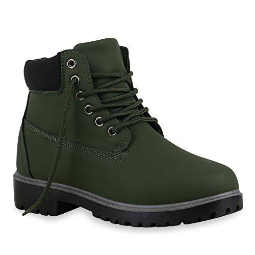 Derbe Damen Stiefeletten Outdoor Worker Boots Schnürstiefel Dunkelgrün