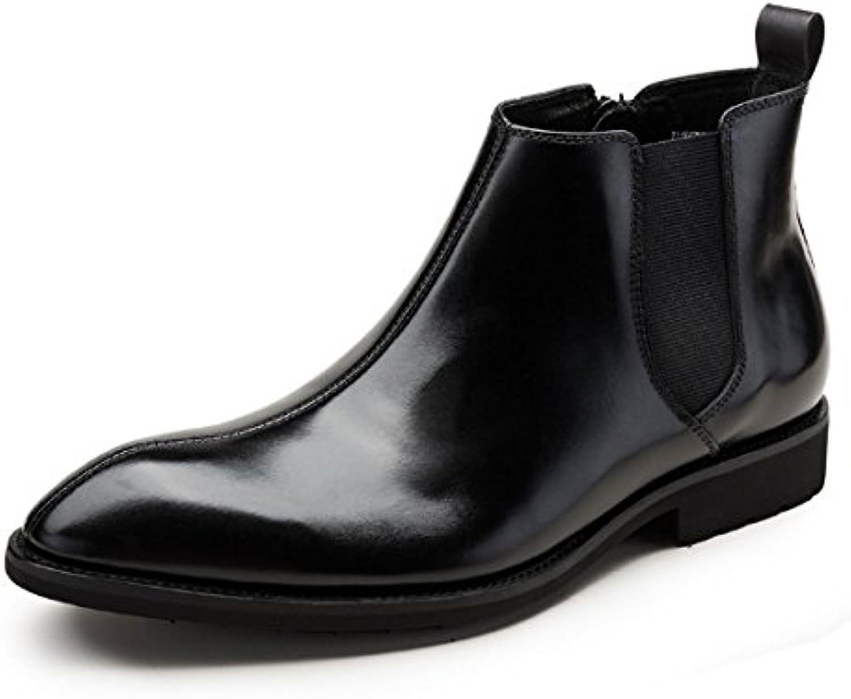 NIUMJ Techo Alto Hombres Zapatos De Cuero Comodidad Botas De Cuero Botines Botas Martin Transpirable Resistente  -