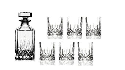Opera Maison juego de7 decantadores italianos de whisky de cristal compuesto por decantador de whisky de 1 x 75 cl y vasos dobles estilo antiguo de 6 x 30 cl