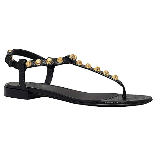 Yzyamz Metall Rivet Pin Toe Flache Sandalen Casual Strand Schuhe Sommer Damen (Color : Black, Size : 35)
