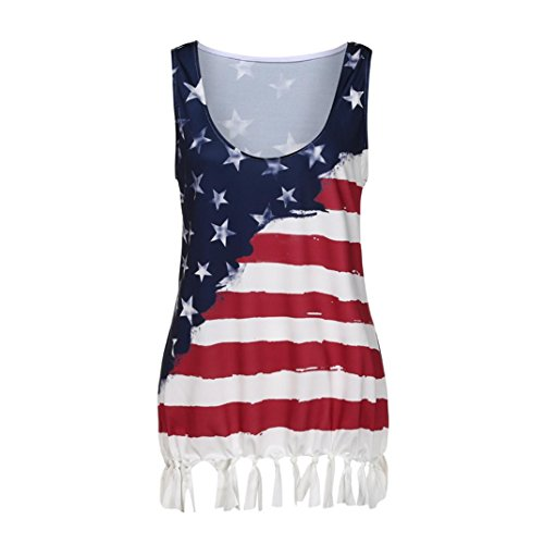Hffan Damen Bluseshirt Hemdblusen Ärmellos Tanktops Casual Sommer Tank Weste Blumen Gedruckt Hemd Oversize Flag Drucken Quaste T-Shirt Sommerstrand Blusentop Camis Crop Top (Mehrfarbig, XL) - Sleeve Flag Shirt