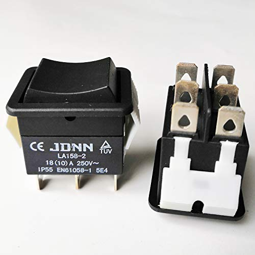JDNN LA158-2 250V 10A 6 Pins Electric Waterproof Double Momentary Rocker Pushbutton Switches for Power Tools Accessories Parts, Black 1. Model number: LA158-2 2. Current/voltage: 10A/250V, Terminals: 6 pins 3. Features: the push button switch made of...