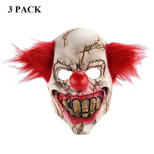 NDGT Latex Clown Maske 3 Pack-Creepy Scary Neuheit Maske für Halloween Kostüm Party Karneval für (Scary Clowns Kostüm)