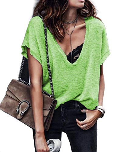 CuteRose Womens Solid-Colored Short Sleeves Relaxed Lounge V-Neck Blouse T-Shirt Green S (Western Shirt 4x)