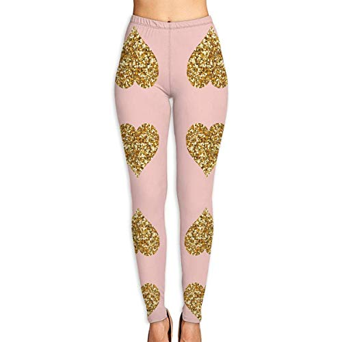 Deglogse Yogahosen, Trainingsgamaschen,Gold Glitter Hearts On Pink Yoga Pants for Women Sport Tights Workout Running Leggings