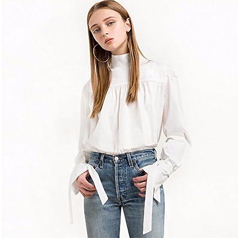 ZQA&N T-Shirt süße Halteband kleine Mock-Neck T-Shirt, L, weiss