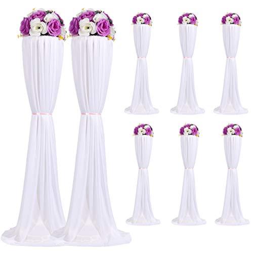 Malayas 8 Stück Blumenständer Hochzeit Säule Kunststoff Standfuß mit Ttischtuch und Blumen für Ihnen Außen Hochzeit Geburstag Party Deko, 120cm Höhe, Weiß