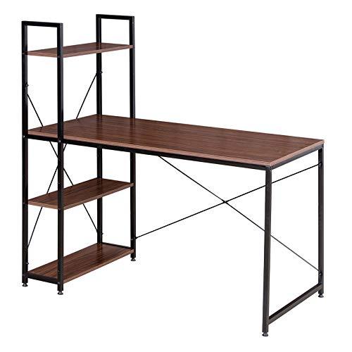 WOLTU Escritorio Escritorio de Computadora Muebles de Oficina Mesa de PC Mesa de Trabajo de Madera y Acero, con 4 Estante, Aprox.120x64x120cm Marrón/Negro TSB01sdc