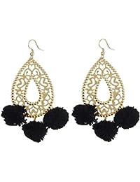 Aradhya Designer Light Weight Black Bali Style Pompom Earrings For Girls And Women