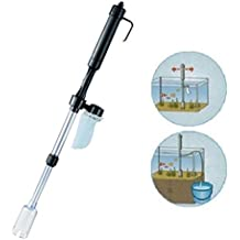 QHJ Aspirador para acuario de grava con batería para limpieza de peces, sifón, agua