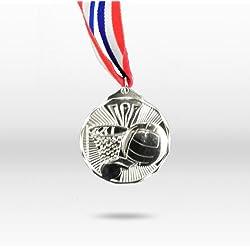 60mm acabado plata baloncesto medalla