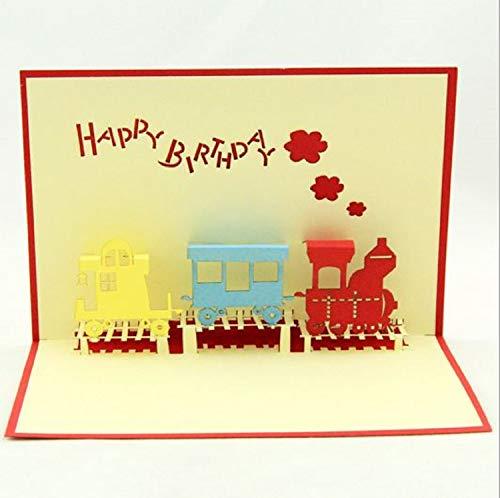 BC Worldwide Ltd handgemachte 3D Pop-up-Karte Kind Geburtstag Karte Kind Geburtstag Karte Jahrgang Strom Zug Papier Laser geschnitten Origami Papercraft Karte -