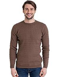 Wool Overs Pull torsadé à col rond homme en cachemire et coton