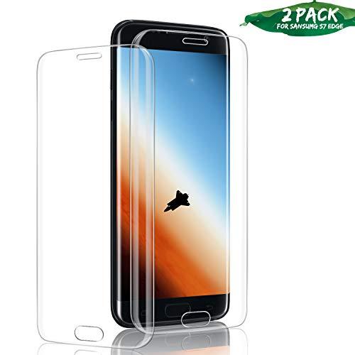 Aonsen Galaxy S7 Edge Panzerglas Schutzfolie, [2 Stück] Premium 9H Härtegrad Gehärtetem Glas Displayschutzfolie, Blasefrei, Ultra Klar Glatt, Anti-Kratzer, für Samsung Galaxy S7 Edge - Transparent