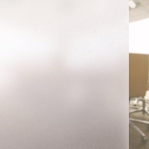 Rabbitgoo® Film Electrostatique Protége Intimité Film Dépoli de Fenêtre 44.5*200CM Film de Protection UV Autocollant de Fenêtre Effet Verre Mate pour Bureau Maison Salle de Bain Chambre Cuisine
