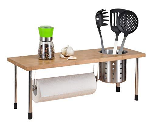Spetebo Bambus Küchenregal mit Edelstahlbecher - Spülbeckenregal für Mehr Stauraum in der Küche - Standregal Ablage Küchengestell