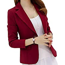 FidgetGear Women's Solid Blazer Formal Style Open Front Long Sleeves Jacket Coat