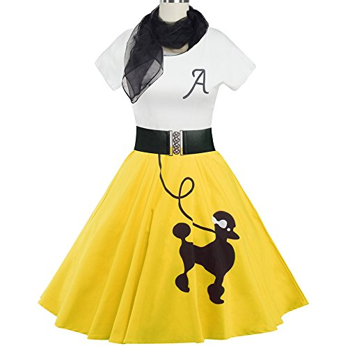 DressLily Retro Poodle Print High Waist Skater Vintage Rockabilly Swing Tee Cocktail Dress,Yellow,2XL