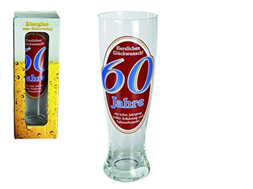 Out of the blue 78/7870 bière de blé de verre, Félicitations 60 ans Pour 700 ml, Env. 23,5 cm