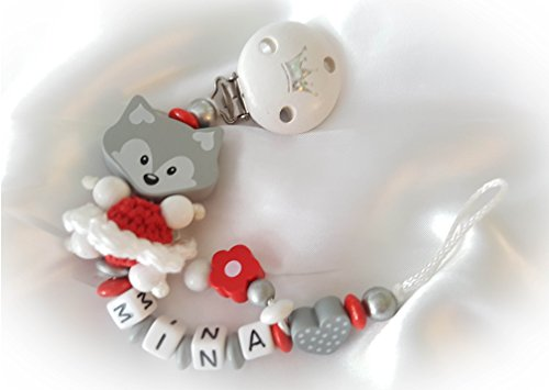 Baby Schnullerkette Fuchs mit Namen - Wunschnamen, Taufe, Mädchen (Fuchs mit Kleid, Rot, Grau)