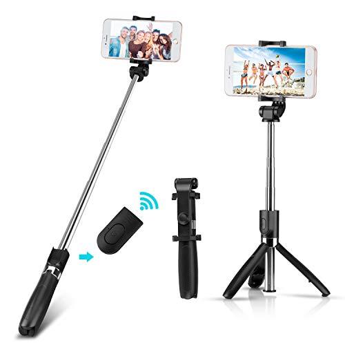 Yimidon Bastone Selfie Bluetooth Estensibile Selfie Stick Treppiede con Wireless Remote Shutter per iPhone/Samsung/Android Smartphone Telecomando