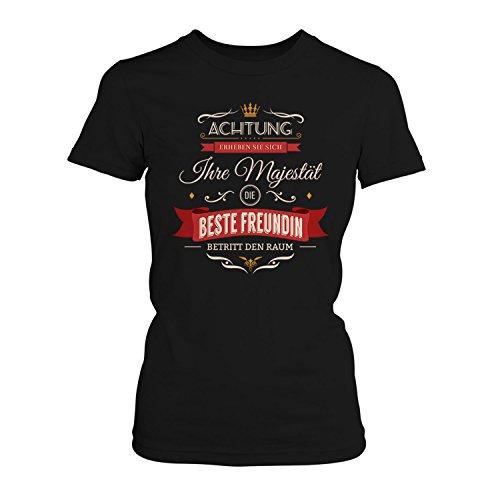 Fashionalarm Damen T-Shirt - Ihre Majestät die beste Freundin betritt den Raum | Fun Shirt mit Spruch als Geburtstag Geschenk Idee für Paare Schwarz
