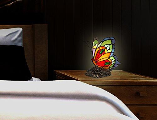 Arte dal mondo tiffany lampade da comodino farfalla vetro resina
