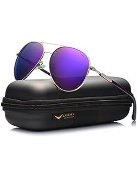 LUENX Herren Sonnenbrille Aviator Polarisiertes mit Gehäuse - UV 400 Schutz Metall Rahmen 60mm
