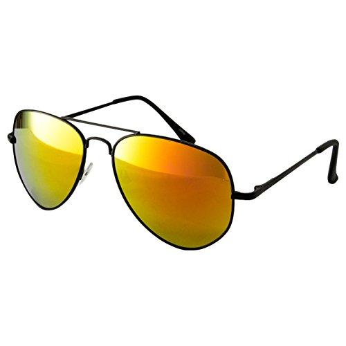 Ciffre EL-Sunprotect® Pilotenbrille Fliegerbrille Sonnenbrille Brille Top Design Schwarz Vollverspiegelt Gold Federschanier