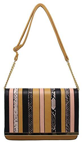 CRAZYCHIC - Damen Umhängetasche - Python Schlange Patchwork Tasche – Leder imitat - Gold Kette Schulterriemen - Schultertasche Handtasche - Kamel Braun (Braun Bag Leder Patchwork)