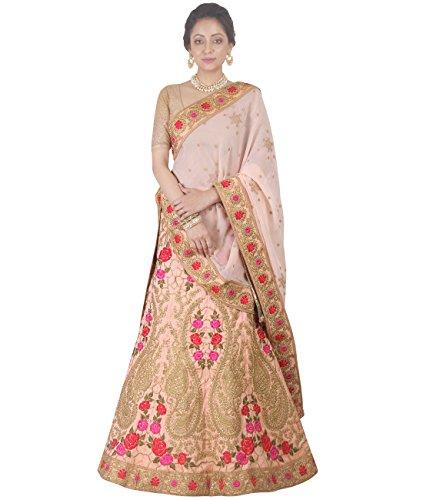 Indian Ethnicwear Bollywood Pakistani Wedding Peach A-Line Lehenga Semi-stitched-DIVISL028