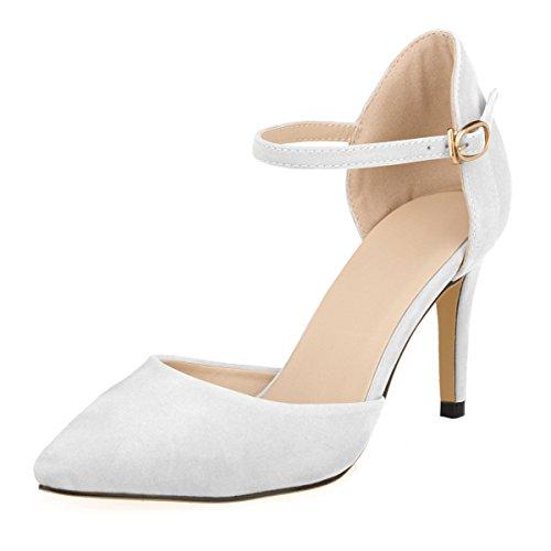 DULEE Damen Strap Stiletto Heel Spitzschuh Sandalen High Heel Pumps,Weiß 35