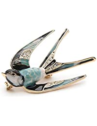 8daeffc2f EJY Lovely Crystal Swallow Animal Brooch Bird Lapel Pin Badge Women Jewelry