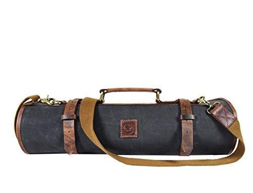 Ledermesser Aufbewahrungstasche   Elastisch und erweiterbar 10 Taschen   Verstellbarer/Abnehmbarer Schultergurt   Reisefreundliche Kochmesser-Tasche Roll by Aaron Leather Goods (Fossil) Messer Storage Roll