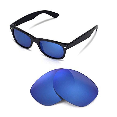 Walleva Ersatzgläser für Ray-Ban Wayfarer RB2132 52mm Sonnenbrille - Mehrfache Optionen (Eisblau beschichtet - polarisiert)
