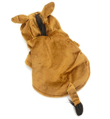 zunea Funny Kleiner Hund Katze Pferd Kostüm Halloween Samt Kapuzen Pet Puppy Coat Jacket Soft Warm Party Hund Cosplay Kleidung Bekleidung
