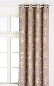 Linder 0968 /90/375FR Rideau Jacquard Cheverny Gris Beige Oeillets 140 x 260 cm