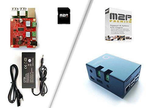 Komplettes Raspberry Pi 3 Verstärker Kit für Direktanschluss an passive Lautsprecher, mit 55 Watt Justboom Amp HAT Soundkarte, Raspberry Pi 3, komplettem Zubehör und Max2Play Software