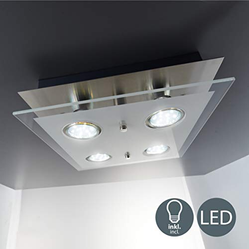 B.K.Licht - Lámpara plafón LED de forma cuadrada con 4 focos y...