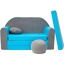 WELOX b1 KindersofaBettfunktion3in1-Kindersessel,Ausziehbett,hellblau/grau, Eierschalenfarbe